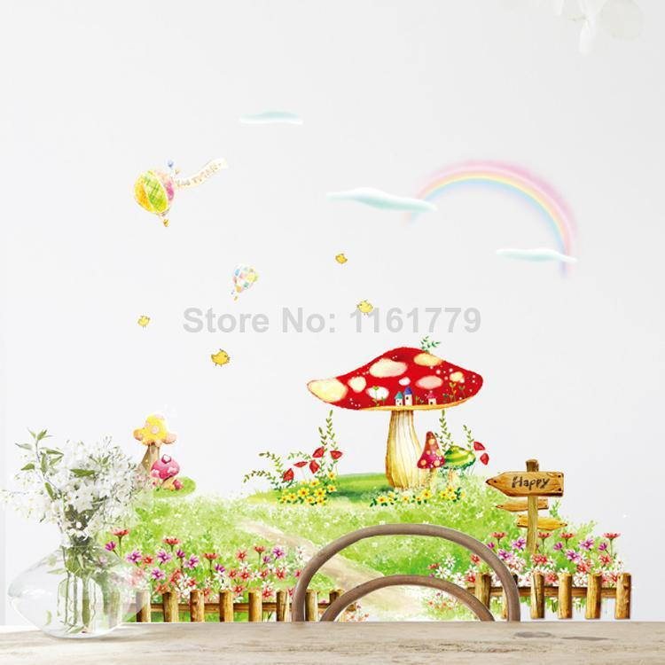 Free Shipping The Fairy Mushroom Garden Removable Wall Stickers Kids Nursery Vinyl Decals Sticker Decal AM9017 In From Home On
