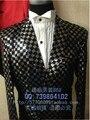 Free shipping New 2015 Black sequined dress suit studio host bar singer Slim Korean dress suit emcee S-3XL