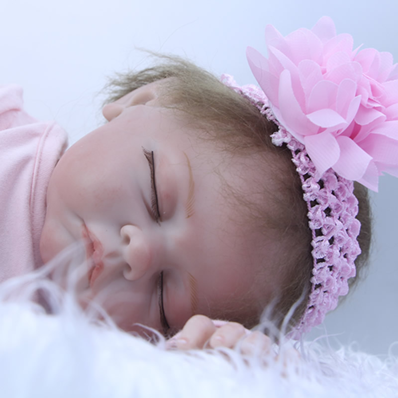 22 Inch Sleeping Reborn Doll Baby Silicone Newborn Girl Princess Babies Lifelike Cloth Body Toy Kids Birthday Xmas Gift 2pcs set cotton spring autumn baby boy girl clothing sets newborn clothes set for babies boy clothes suit shirt pants infant set