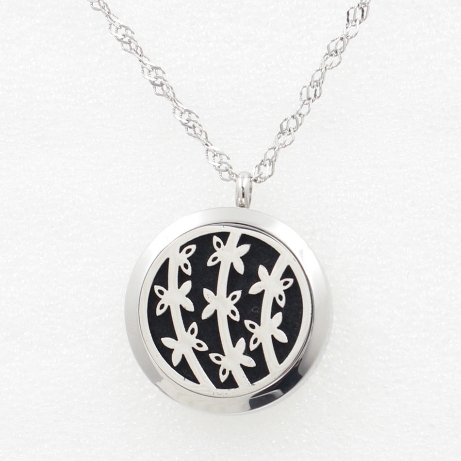 Silver 30MM Bamboo Essential Oil Locket Necklace Pendant 316L Stainless Steel Aromatherapy Locket Pendant With Free Pad