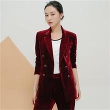 Fashion gold velvet casual suit suit female new high-end spr