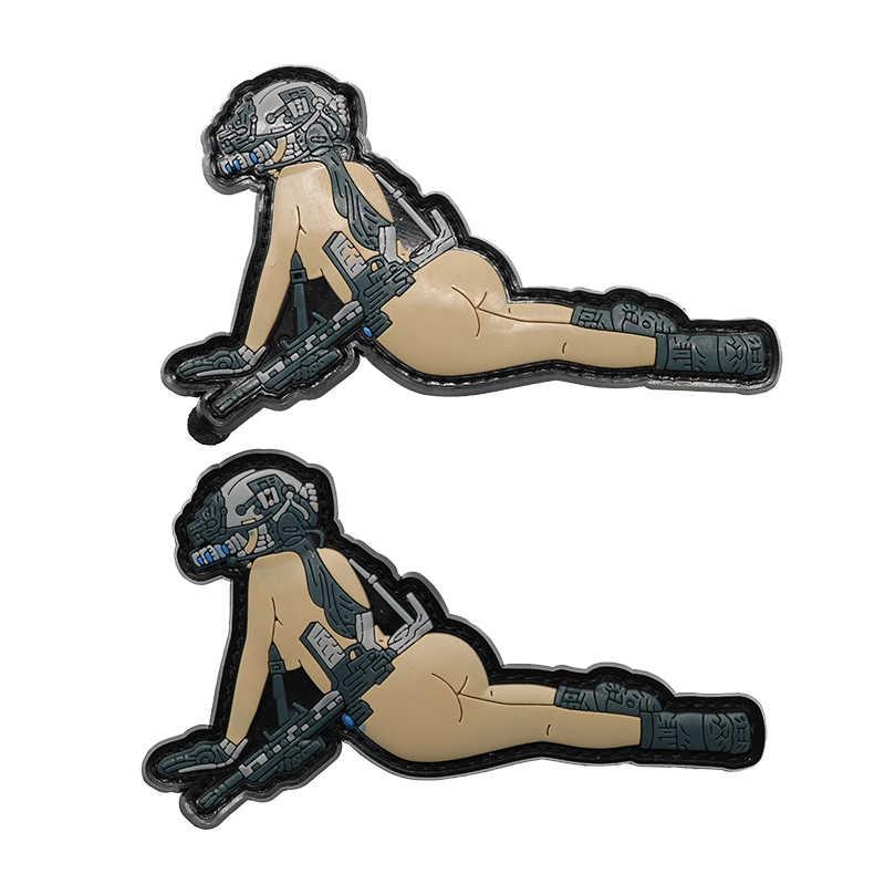 ปืนสาว 3D พีวีซีอีพ็อกซี่ Armband กองทัพทหารยุทธวิธี Badge สาวน่ารักพัดลมอุปกรณ์เสื้อผ้ากระเป๋าเป้สะพายหลังหมวกตกแต่ง