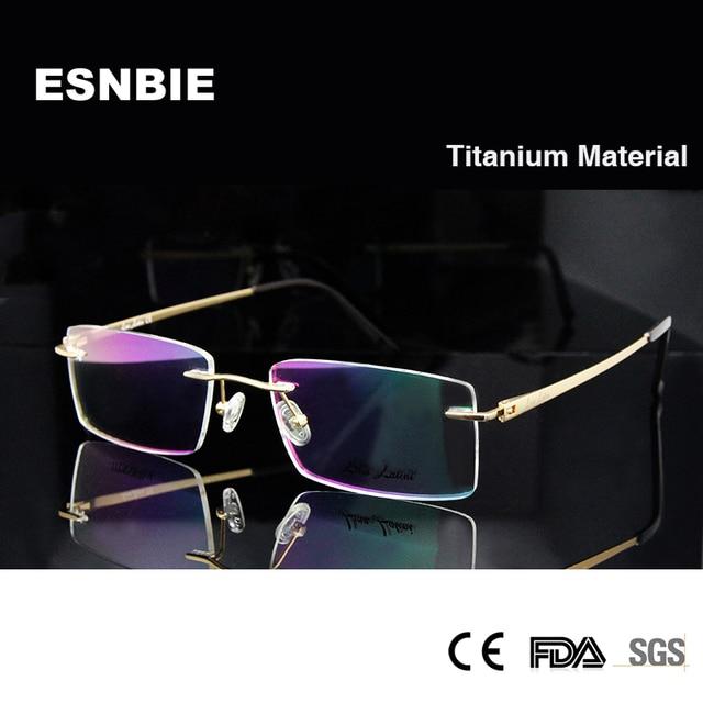 ESNBIE Luxo Homens Óculos Sem Aro de Titânio Quadros Homem Dourado Lente  Óculos Óculos de Armação b4c87a7f20