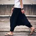 Los hombres del verano flojo de gran tamaño nueve minutos pantalones harén pantalones grandes pantalones anchos pantalones bajo la entrepierna
