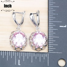 Pink Zircon Silver 925 Costume Jewelry Sets Women Wedding Earrings With Stones Pendant Necklace Rings Set jewellery Gift Box