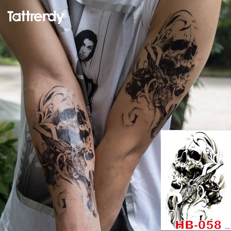 Gun skull waterproof body arm art tattoo sticker on the for Tattoo gun prices