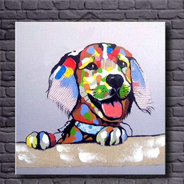 Delightful Incrível Colorido Lovely Dog Wall Art Imagem Decorativa 100% Mão Pintura A  Óleo Pintado Cão