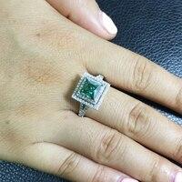 Princess Moissanite Engagement Halo Ring 2carat Green Moissanite Lab Diamond 14K White Gold Wedding Rings For Women