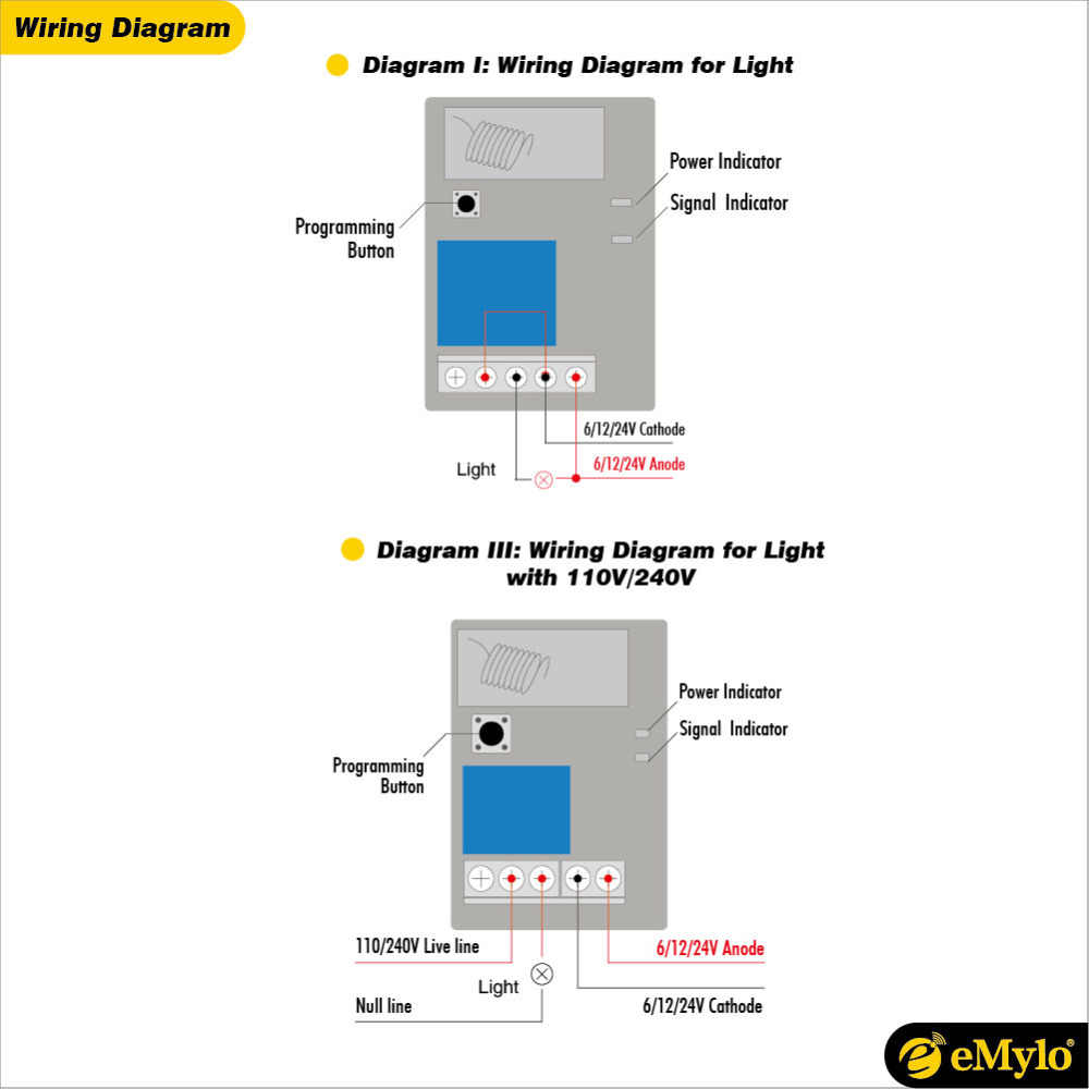 medium resolution of  emylo rf 5v 6v smart switch wireless remote control light 433mhz white transmitter 4x1channel relays