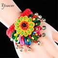 Женский винтажный браслет с цветком Yesucan, разноцветный браслет с колокольчиками ручной работы, вечерние ювелирные изделия
