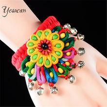 Yesucan boho multicolorido flor pulseira & pulseiras vintage artesanal onda sino pulseira para festa de palco feminino charme jóias presente