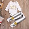Estilo primavera roupas Infantis conjuntos de Roupas de Algodão Bonito olá mundo 2 pcs (Manga Completo + Calças) Bebê menina roupas Frete Grátis