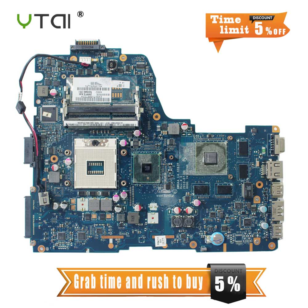 YTAI LA-6062P REV:4.0 for Toshiba Satellite A660 A665 laptop Motherboard NWQAA LA-6062P REV:4.0 HM55 mainboard fully test c660 integrated ddr3 for toshiba satellite c660 laptop motherboard k000128540 la 6849p full test