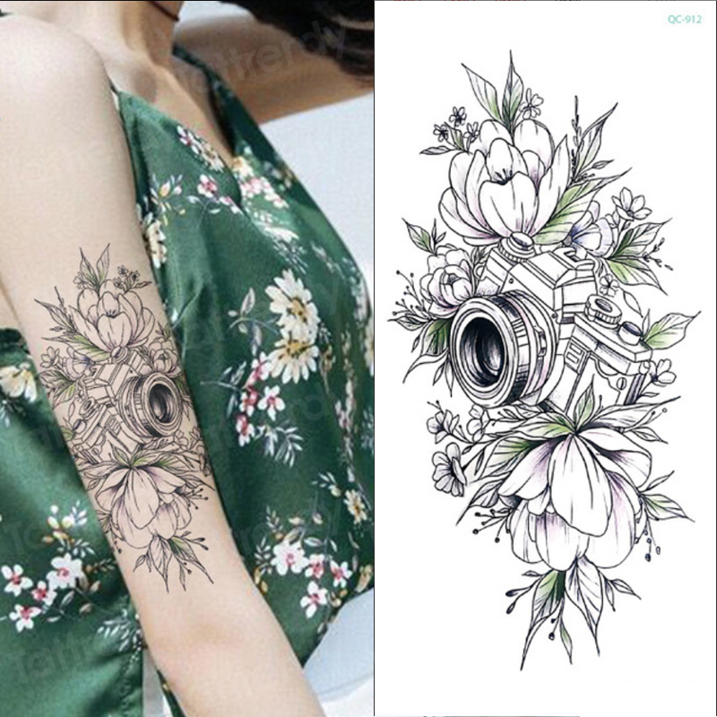 Sketch Flower Stickers Women Temporary Tattoo Rose Peony Lotus Flower Sketches Tattoo Designs Camera Triangle Tattoo Black Sexy