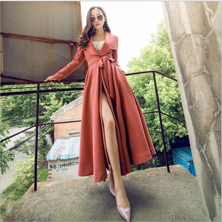 Women 2019 Trench Coat Trend Color  Full Sleeve Sash Vintage Style  Swing Maxi Coat