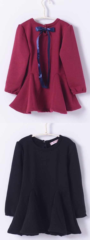 בנות שמלת תינוק חורף סתיו בגדים עבה כותנה מזדמנים פעוטה ילדים מוצק קוריאני ילדי בגדי 3 4 5 6 8 10 T