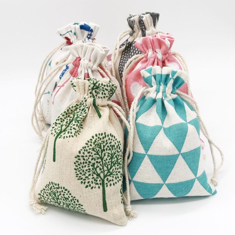 5Pcs/lot 10x14cm Linen Cotton Bags Small Drawstring Gift Bag Pouches Handmade Neckalce Bracelets Bangle Jewelry Packaging Bags