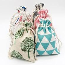5 шт./лот 10x14 см льняные хлопковые сумки, маленькие подарочные мешочки на шнурке, сумки ручной работы для ожерелий, браслетов, браслетов, упак...