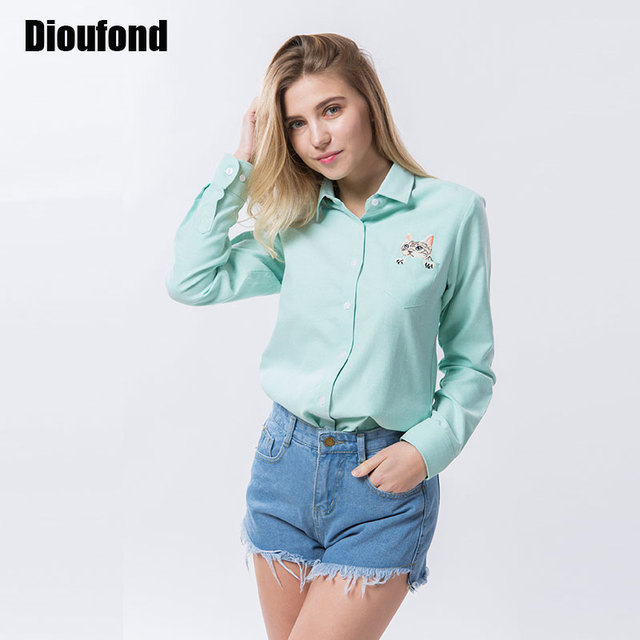 Dioufond кошка вышивка с длинным рукавом женщины блузки и рубашки белый синий женщины дамы повседневная рубашка топы плюс размер blusas блузка