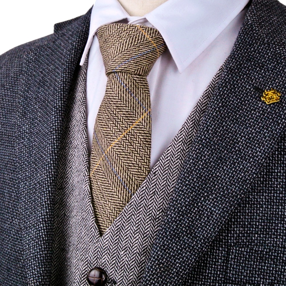 New H40 Checked Herringbone Tweed Brown Camel Wool Mens Ties Neckties Wholesale Handmade Casual Formal Business Free Shipping