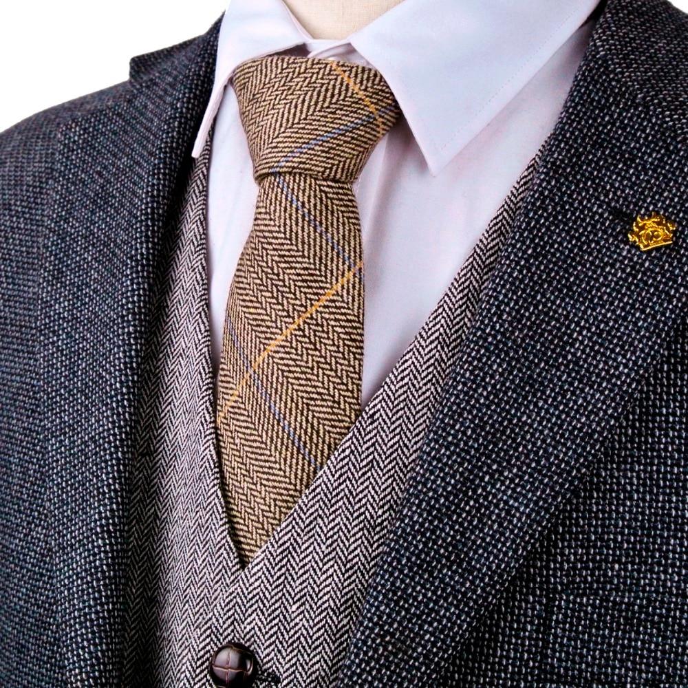 New H40 Checked Herringbone Tweed Brown Camel Wool Mens Ties Neckties Wholesale Handmade Casual Formal Business Free Shipping