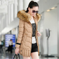 Quilted Jacket Womens 2014 Korean Thick Winter Coats With Fur Collar Ladies Long Slim Thin Padded Cotton Jacket
