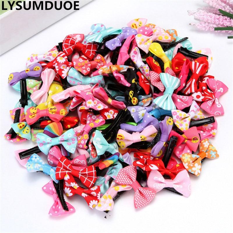 Fashion 50Pcs Mini BB Clip Bow Ribbon Hairpin Children Hair Clips Flower Boutique Cute Barrette Kawaii Girl Hair Accessories