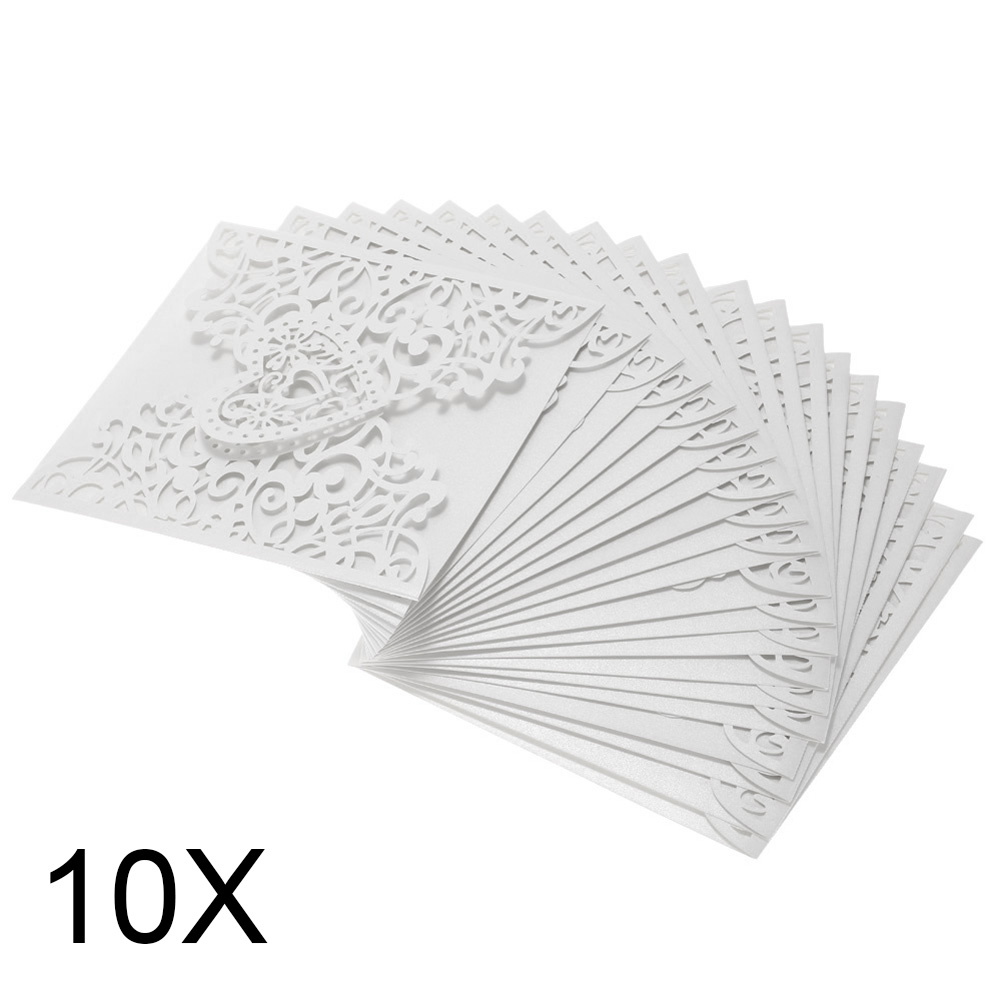 10 Pcs/ Pack Romantic Wedding Party Invitation Card Delicate Hollowed Heart Pattern Decoration Supplies HG99 1 design laser cut white elegant pattern west cowboy style vintage wedding invitations card kit blank paper printing invitation