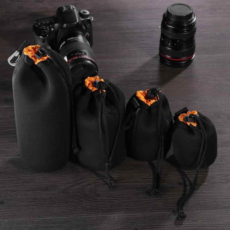 Néoprène souple caméra vidéo LensWaterproof souple néoprène caméra lentille pochette sac cordon protecteur étui pour Canon Nikon noir