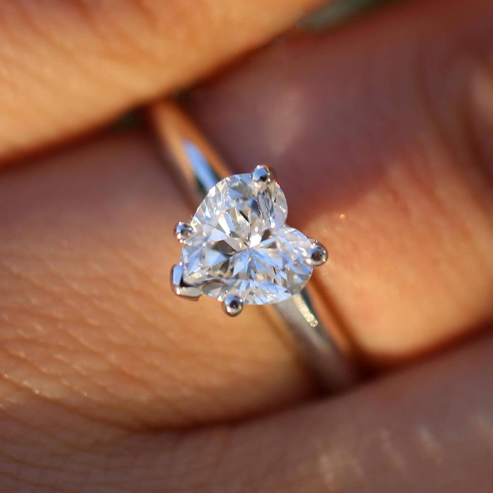 1ctw 6,5 мм Сердце Cut обручение и свадебные Муассанит искусственный бриллиант Solitaire кольцо Твердые Подлинная 14 к 585 Белое золото для женщин