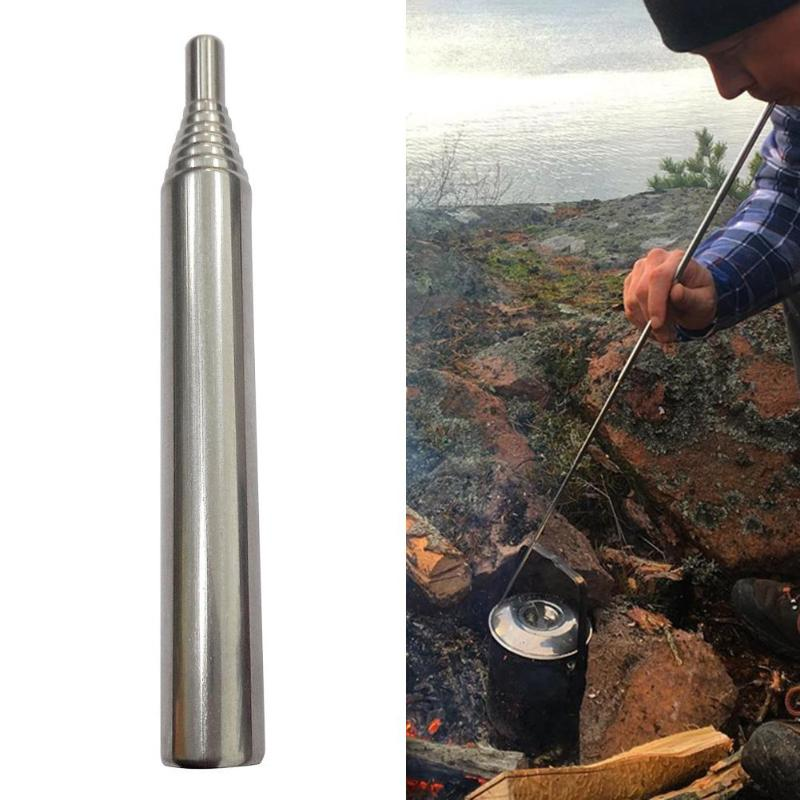 NEW Practical Outdoor Portable Bellow Blow Fire Tube Collapsible Assisted Fire Tool Camping Survival Durable Stainless Steel