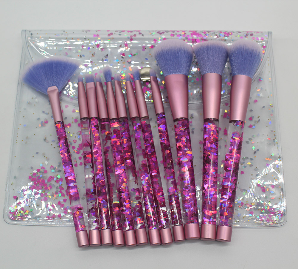 Bling 12/7PCS Aquarium Liquid Glitter Brush Set Mermaid Makeup Brushes Pincel Kit Portable Eyebrow Eyeshadow Brush Makeup Tools