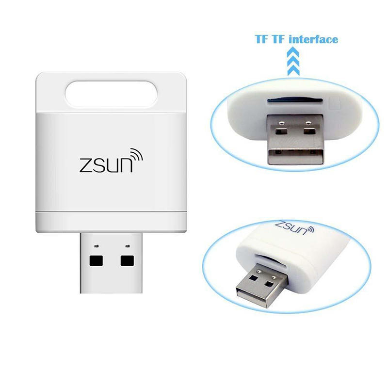 Smart Expansion ZSUN Wifi Card Reader Wireless Adapter Support 2TB TF/SD Card Wireless Storage For Android iOS Windows O3 ssk scrm 060 multi in one usb 2 0 card reader for sd ms micro sd tf white