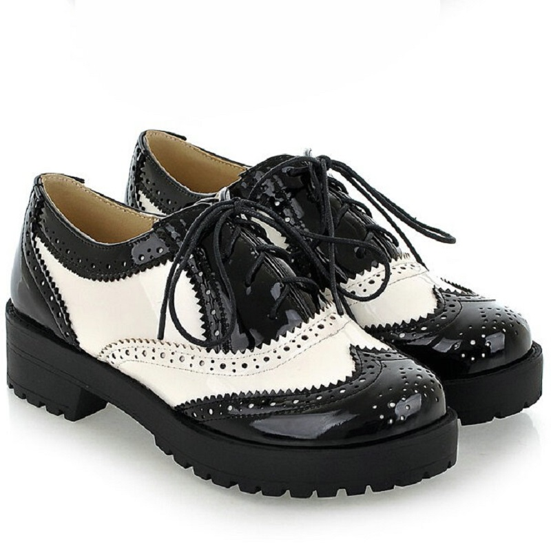 2017 vintage black white toe leather oxford for