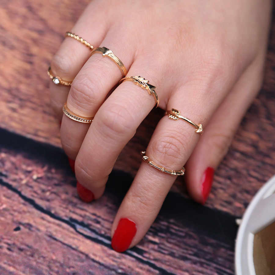 7pcs/Set Women Bohemian Vintage Silver Stack Rings Above Knuckle Blue Rings Set for Man Woman Gift Couples Rings Bijouterie #25