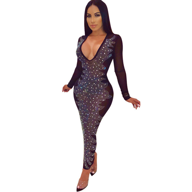 2fcb47ad6ae Women Winter Celebrity Sparkly Party Dresses Sexy V-neck Long Sleeve  Rhinestone Mesh See Through Ankle-length Maxi Bodycon Dress