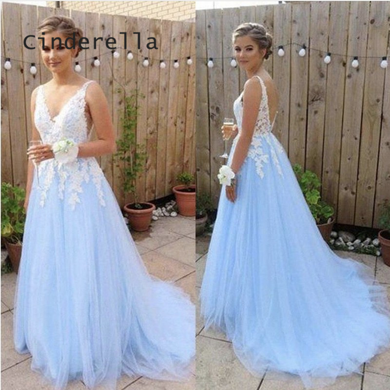 Cinderella Elegant V-Neck Court Train Backless Lace Applique Soft Tulle   Prom     Dresses   Shining Crystal Party Gown For   Prom