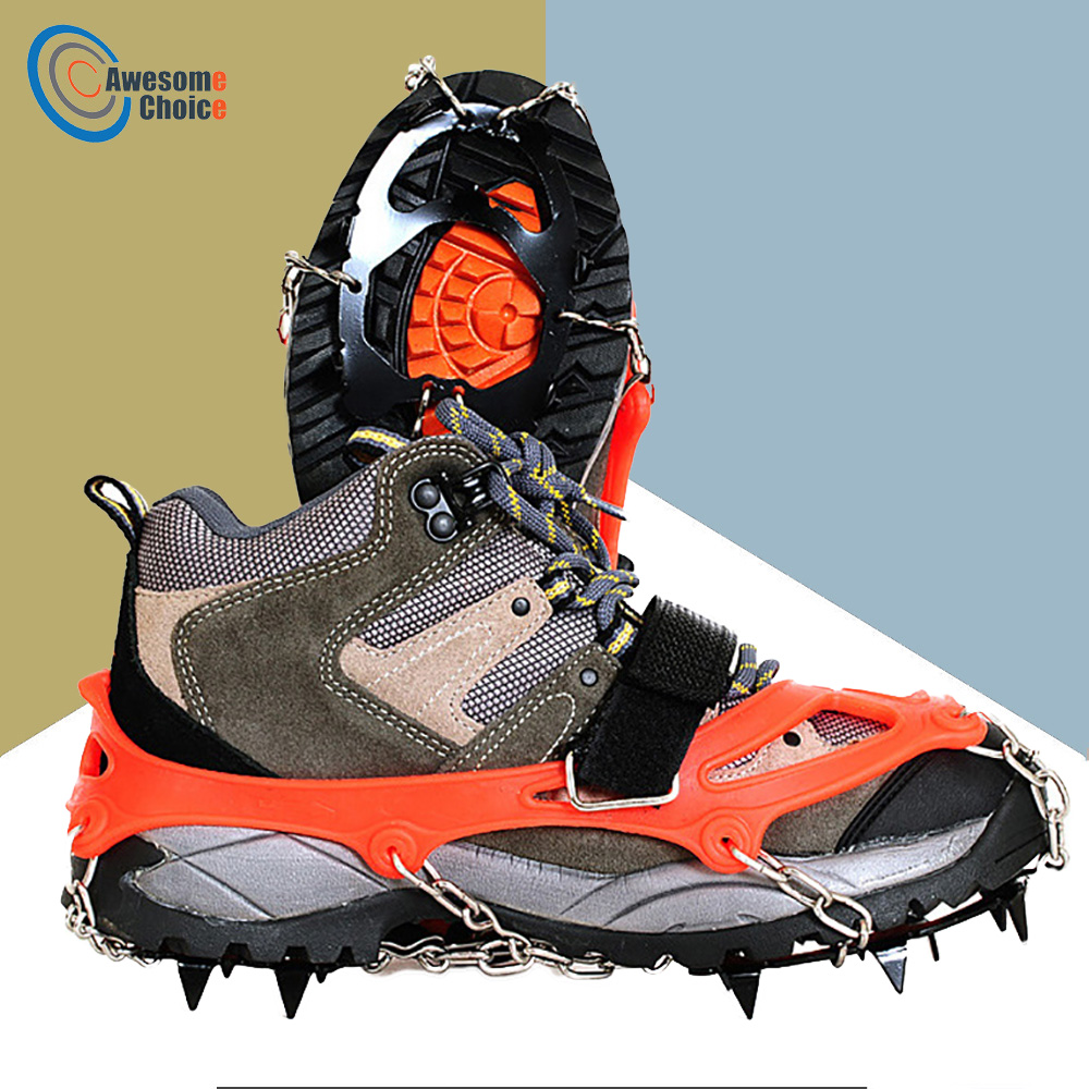 цена M/L Size Crampons 12 Teeth Outdoor Mountaineering Hiking Antislip Ice Snow Shoe Spikes Shoe Crampons Skidproof High Quality