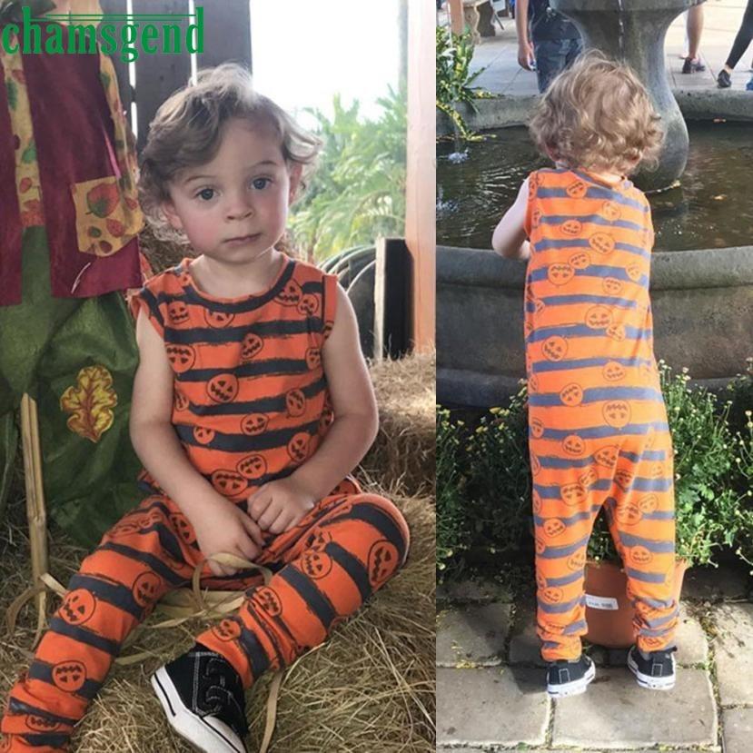 CHAMSGEND Fashion Orange Toddler Infant Baby Boy Girl Print O-Neck Sleeveless Pumpkin Romper Jumpsuit Halloween Outfit ag8 P30