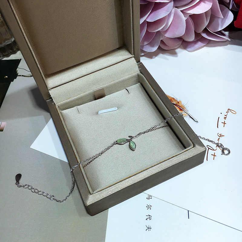 シンプルなデザイナークリスタル葉の形状ブレスレット純粋な 925 スターリングシルバーの女性ブレスレット