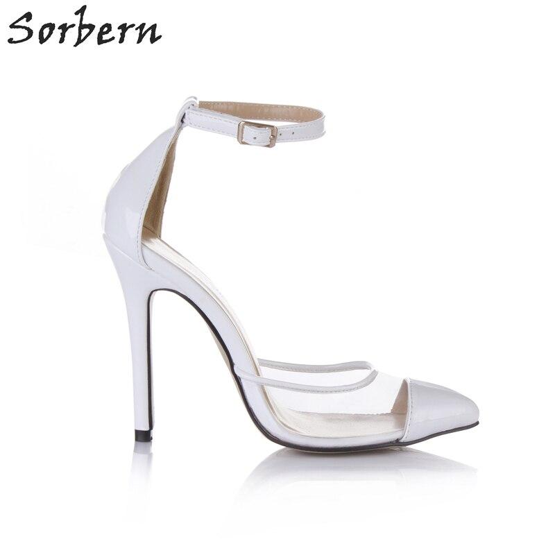 Hauts Sorbern Transparent Pompes Pompe Color blanc Talons Blanc Brillant Stilettos Chaussures Pointu Strap Cheville Bout Pour Femmes Pvc Parti Custom rFqrCOfw