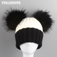 2017 New Winter Beanie Hats For Women Cute Two Fur Pompom Caps Patchwork Knitted Beanies Men Skullies