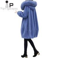 Winter Faux Sheepskin Coat Women Long Fox Fur Collar Hooded Fake Fur Jacket Women Outerwear Plus size Warm Ladies Faux Fur Coat