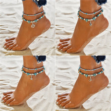 Modyle Boho Ethnic Antique 2 Layer Ankle Bracelet Cute Starfish Cuckold Foot Chain For Women Summer Beach Jewelry(China)