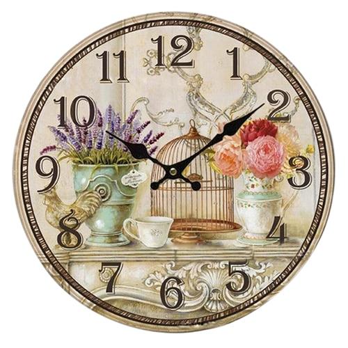 Floral Vintage Shabby Chic Style 34cm Wall Clock Home Bedroom Kitchen Quartz (Pattern:flower+birds)
