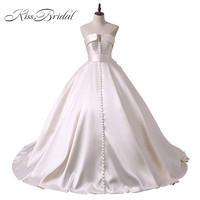 Vestido De Noiva New Design Ball Gown Wedding Dresses V Neck Sleeveless Lace Up Back Sexy Vintage Bride Gowns With Button