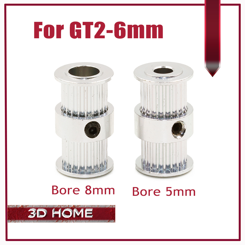 3D printer Ultimaker 2 GT2 Timing Driving Pulley 20Teeth Bore 5 / 8mm Double Head Gear Alumium teeth for GT2 belt width 6mm gt2 20teeth 16 teeth 20 teeth bore 5mm 8mm timing alumium pulley fit for gt2 6mm open timing belt for 3d printer