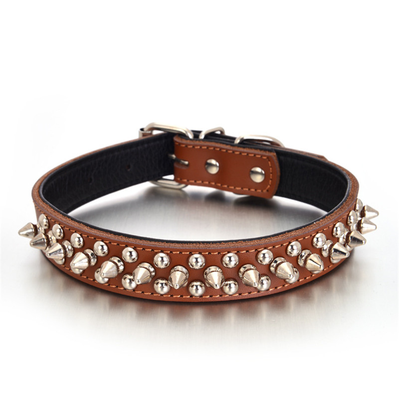 Small Dogs Collars Genuine leather Spiked Puppy Animals Supplies Necklace Accessories For Cat Pet Product Collar collier chien