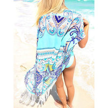 New Chiffon Beach Cover Up Long Tassel Beach Cardigan Feminino Swim suit Printed Bathing Suit Cover Ups Pareo Beach Tunic(China)