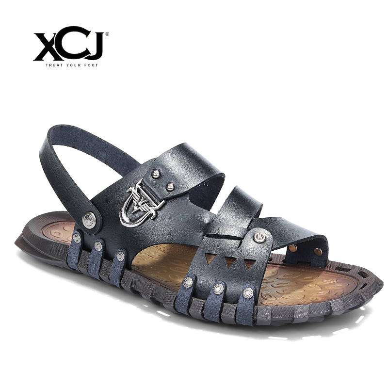 XCJ Men Sandals Men Beach Shose Brand Men Casual Shoes Men Slippers Sneakers Flip Flops Genuine Split Leather Summer Shoes